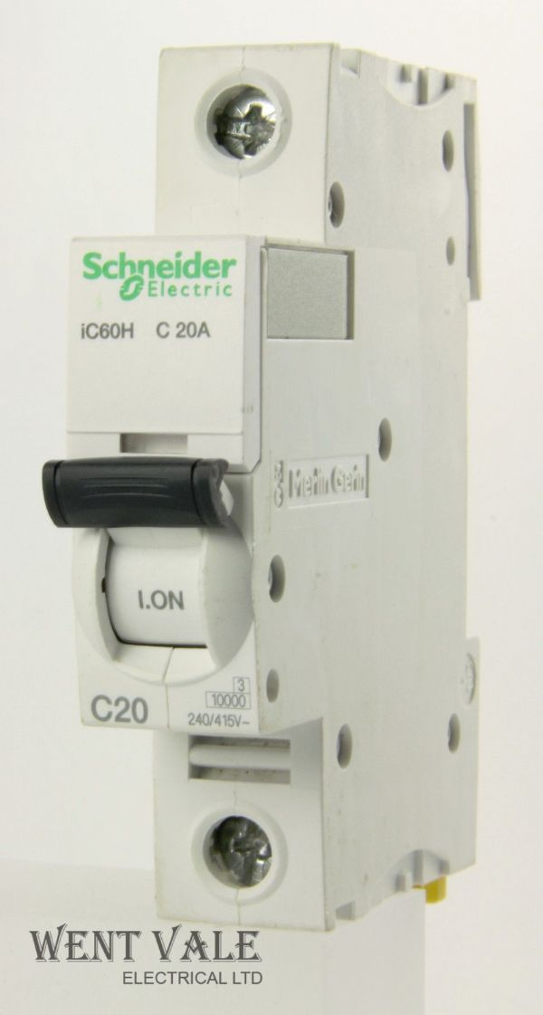 Schneider Acti 9 - A9F54120 - 20a Type C Single Pole MCB Latest Model Used
